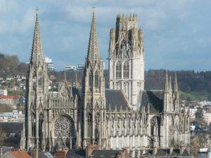 St. Ouen Abbey Church in Rouen as seen from Gros Horloge