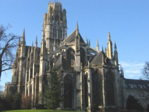 St. Ouen Abbey Church in Rouen as seen from the gardens